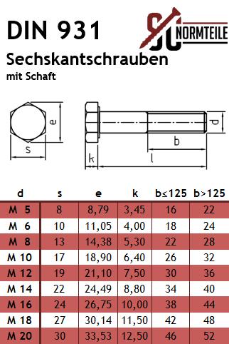 FASTON Sechskantschrauben mit Schaft M5x30 Edelstahl A2 V2A DIN 931 Maschinenschrauben Sechskant Schraube Maschinenschraube mit Teilgewinde rostfrei 10 St/ück